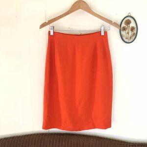Vtg Retro Orange High Rise Pencil Skirt